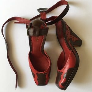 Vince Camuto red and brown leather heels